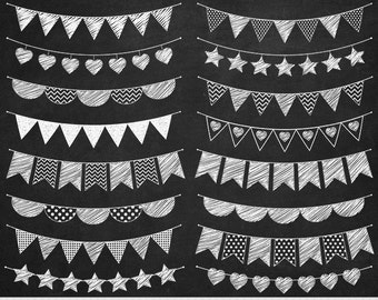 Chalkboard Bunting Clipart Flags Clipart Doodle Bunting Clipart Garland Clipart Polka Dot Stripes Bunting Clip Art Invitations Scrapbooking