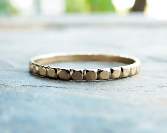 Solid 14k Gold Dots Wedding Band, Eternity Band, or Stacking Ring - Yellow or White Gold Thin Bead Band - Promise Ring - Flat Dots Band