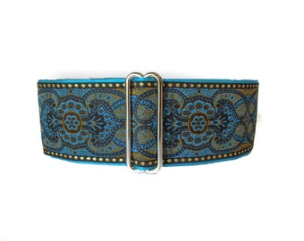 2 inch Martingale Collar, Turquoise Martingale Collar, Jacquard Dog Collar, Azure Blue, Greyhound Collar, Greyhound Martingale, SIghthound