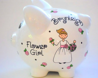 Flower Girl Gift Personalized Piggy Bank for Wedding