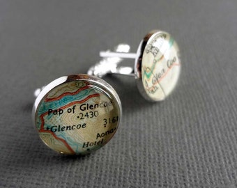 Silver Cufflinks for Men, UK Placenames, USA Placenames, Choose Two to Personalise Your Cufflinks