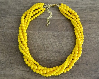 The Zoe Yellow Statement Necklace, Layered Statement Necklace, Multistrand Necklace,  Beaded Statement Necklace, Chunky Yellow Necklace