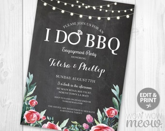 I Do BBQ Invitations Couple's Shower Red Chalk Floral Printable Invite Engagement Party INSTANT Download Pink Personalize Editable Printable