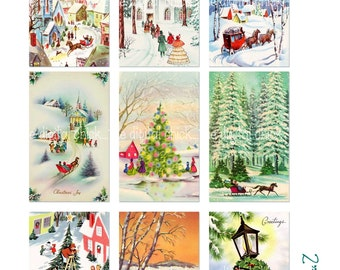 Digital Clipart, instant download, Vintage Christmas Card Images--snow pine trees sleigh church tree--8.5 by 11--Digital Collage Sheet 1355