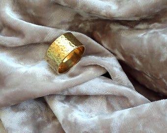 Wide wedding band, Gold wedding band, Band ring, Gold band, 14 karat wedding band, Bridal ring, Wide gold ring, Hammered Wedding Ring