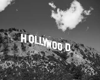 Black White Hollywood Sign Photo Print Theme Decor Los