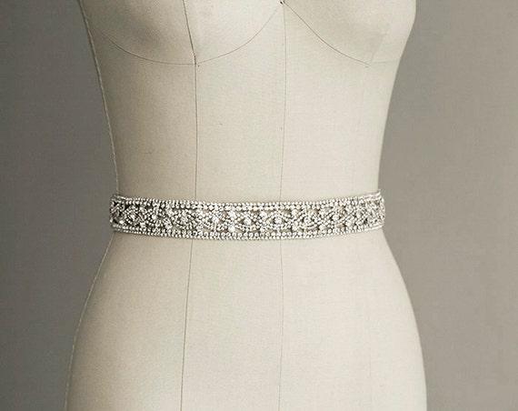 PRISCILLA Crystal Sash Belt Bridal Gown Belt Long