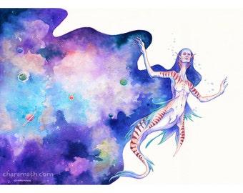 Original Illustration 'Mermaid of the Cosmos' - 5x7 inch print