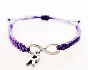 Infinity with Initial Bracelet - Personalized Jewelry - Hemp Bracelet