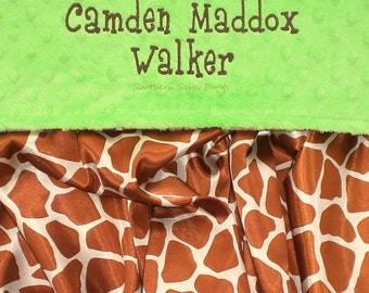 Personalized Baby Blanket , Giraffe Satin and Minky Blanket , Blanket for Baby Boy or Baby Girl