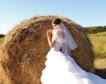 Wedding Veil. Two Tier Mid Hip Length Bridal Veil.