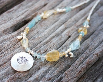 Faceted Citrine + Aquamarine Necklace with Thai Hill Tribe Silver + Lotus Charm + Crescent Moons - Beaded Gemstone Jewellery - Jewelry