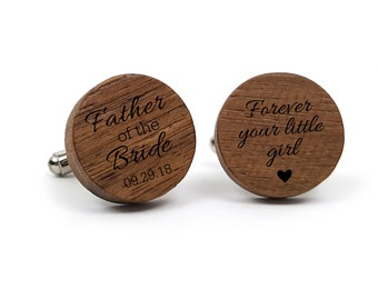 Personalized Cufflinks Custom Cuff links Engraved Cufflinks Round Gift for Him Father of the Bride Cufflink Father of the Bride Gift Dad