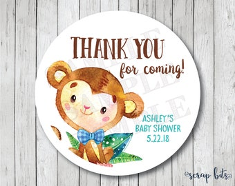 Thank You For Coming Stickers, Watercolor Monkey Tags, Boy Monkey Thank You Tags, Monkey Baby Shower Tags, Baby Shower Labels