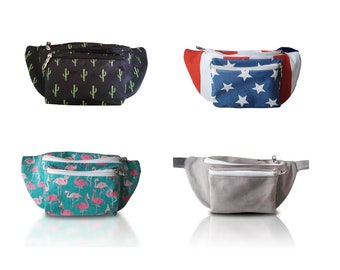 Cute Fanny Pack - Free Shipping, 3 Pockets, Multiple Styles (Cactus, America, Flamingo, Gray)