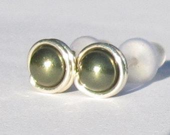 Tiny Dark Green Pearl Stud Earrings (5mm), Swarovski Pearl Stud Earrings, Wire Wrapped Sterling Silver Stud Earrings, Green Stud Earrings