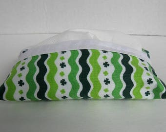 Tissue Holder Green Stripes - Clover Tissue Cozy - Purse Size Tissue Case - Small Tissue Cover - St. Patricks Day - Fabric Tissue Cover