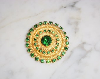Vintage Gold Tone Rhinestone Brooch - 39 Green Stones