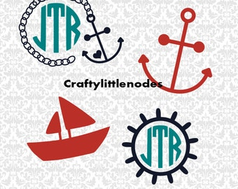 Little Nautical Set Boat Captains Wheel Anchor Monograms SVG STUDIO Ai EPS Scalable Vector Instant Download COmmercial Use Cutting FIle