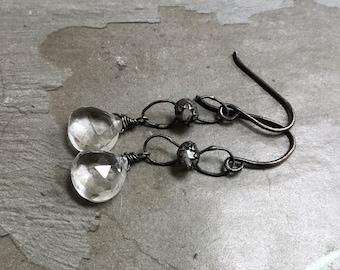 Herkimer Diamond Earrings - Raw Crystal Earrings - Oxidized Sterling Silver Earrings - Rock Crystal Earrings - Bezel Earrings