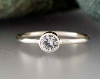 White Sapphire Engagement Ring in Solid 14k White Gold