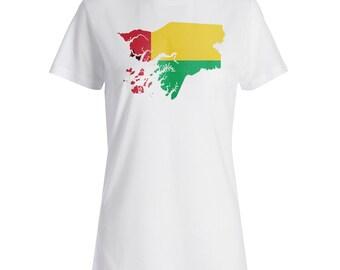 Guinea World Map Art Ladies T-shirt i711f