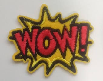 Embroidered Yellow WOW Patch Iron on Applique Superhero Cartoon Bubble