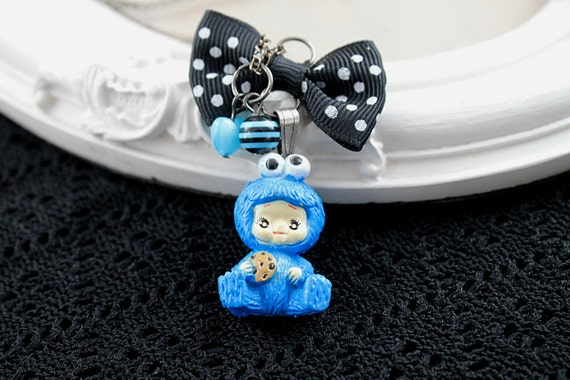 Cookie Monster Baby necklace in blue Kawaii Gothic Lolita black bow