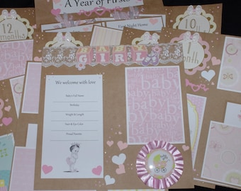 Princess Welcome Baby Girl 14~12x12 Premade Scrapbook Layouts journal cards Newborn month to month