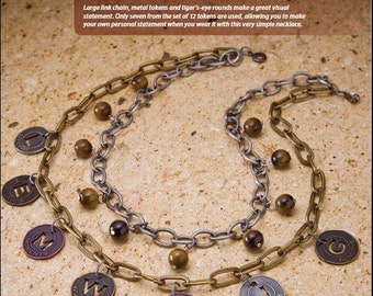 Be Mused Be Inspired Bracelet Tutorial, Tim Holtz Muse Tokens, Mixed Chain, Tiger's Eye Beads