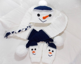 Snowman crochet set/ Snowman scarf, gloves and hat/Snowman Photo Prop