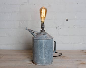 Unique galvanized can lamp, metro home, industrial home, desk lamp, table lamp, unique and individual
