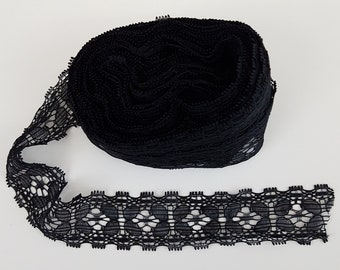 Black Flexible Lace Sewing Trim 10 Yards by 1 1/8 Inches Wide L0754