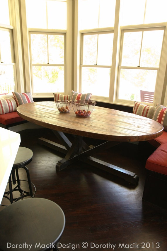 Custom Butcher Block Strip Oval Wood Dining Table From - Reclaimed wood oval dining table