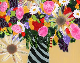 mixed media, canvas painting print, garden flowers, white daisys, pink roses, yellow, purple, yellow, purple, green, black and grey vase