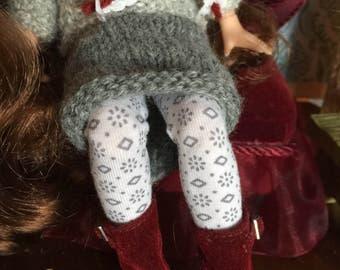 Grey flower doll tights, blythe leggings, grey doll stockings, floral doll socks, girly blythe tights, 12 inch doll tights, pure neemo socks