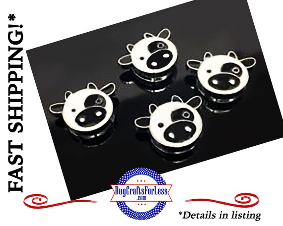 COW Cartoon Slide for 8mm Bracelets, Collars, Key Rings - CUTE! +FREE Shipping & Discounts*