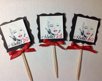 Marilyn Monroe Personalized Age Cupcake Toppers