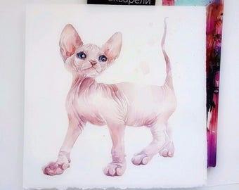 Watercolor painting, original, Sphinx cat, Aquarelle, Illustration, art