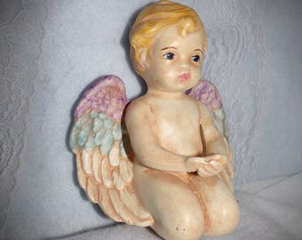 Hand Made Ceramic Cherub,  Adorable Angel Blue Eyes Blonde Hair . Resting Place Angel . Grave Markers.   1960s Angel . Hand Made Gifts