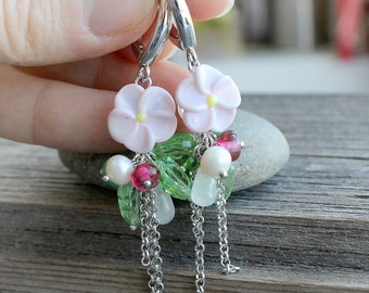 Lampwork Earrings, Lampwork Flower Earrings, Floral Lampwork Earrings, Floral Glass Earrings, Glass Earrings, Earrings