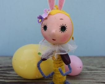 Vintage Style Yellow Easter Bunny,  Big Eye,  Shelf Sitter, Purple Sleeves