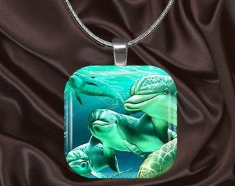 Dolphin Glass Tile Pendant with your choice of chain included(Dolphin2.3)