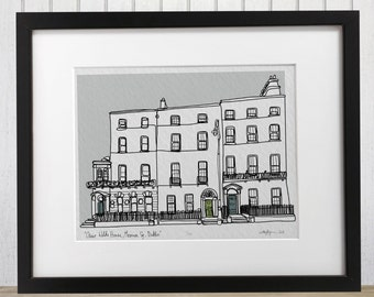 Dublin Oscar Wilde's House Merrion Square doodle print