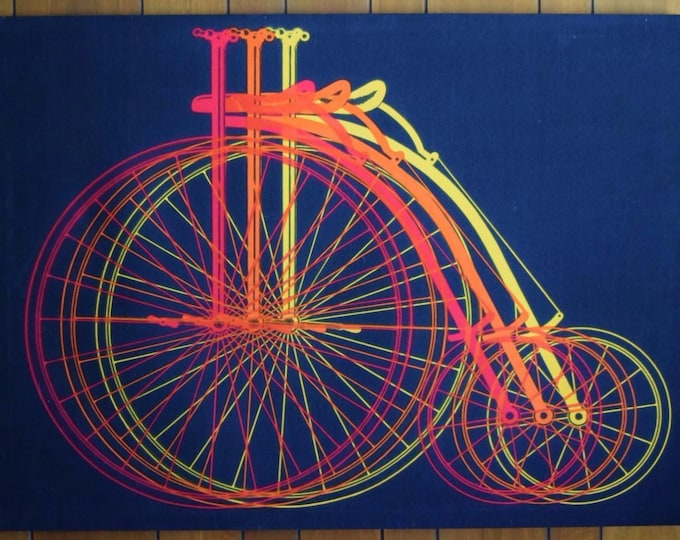 Vintage 1970's MCM Penny Farthing Bicycle Chiaki Fabric Panel Tapestry Wall Op Art