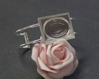 Bracelet stiff rectangle tray silver plated cabochon 18 x 25 mm