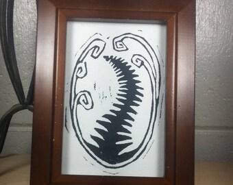Hand printed lino-cut Fern print in dark wood frame