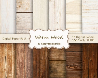 """Warm Shabby Old Wood Board Digital Paper Pack of 12, 300 dpi, 12""""x12"""" Instant Download Pattern Paper Scrapbooking, Invites, Cards JPG"""