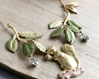 squirrel necklace woodland animal jewelry green leaf necklace autumn fall whimsical necklace wholesale jewelry acorn necklace CRITTER