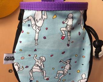 Rock Climber print Chalk Bag